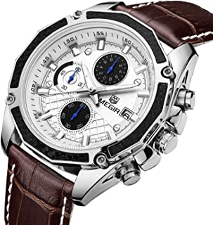 Men Luminous Waterproof Sport Watches Military Pilot Multifunction Leather Quartz Wrist Watches