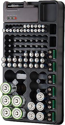 tka Köbele Akkutechnik Batterietester: 2in1-Batterie-Organizer für 98 Batterien, mit Batterie-Tester (Batteriebox)