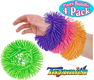 Toysmith Squigglets Wearable Critters Soft Tactile Neon Rings Purple, Pink, Orange & Green Party Set Bundle - 4 Pack