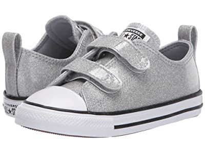 Converse Kids Chuck Taylor(r) All Star(r) 2V Coated Glitter (Infant/Toddler) (Wolf Grey/Black/White) Girl