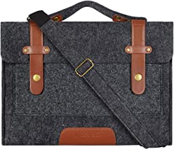 MOSISO Laptop Shoulder Bag Compatible with 13-13.3 inch MacBook Pro, MacBook Air, Notebook Computer, Ultraportable Protective Felt Slim Briefcase Carrying Handbag Sleeve Case Cover, Black