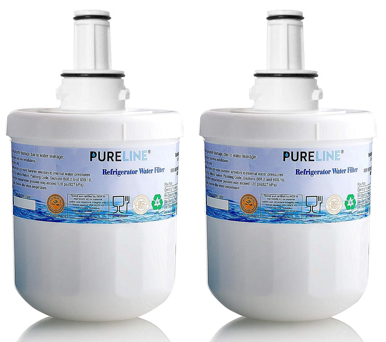 Compatible Samsung Water Filter DA29-00003G Samsung Aqua Pur Plus Replacement with Advanced Filtration. Also Fits Aqua-Pure Plus DA29-00003A, DA29-0003B and PUR W10132126 - By Pure Line (2 Pack)