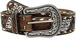 M&F Western - Turquoise Floral Overlay with Lace Edge Belt