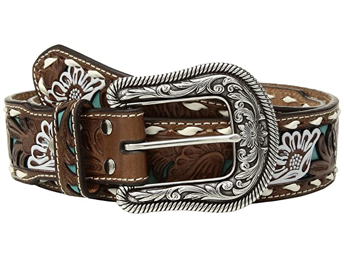 M&F Western Turquoise Floral Overlay with Lace Edge Belt (Tan) Women