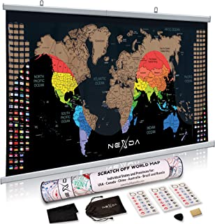 Scratch Off World Map with Hangers by Nexda - 33x17 Inch Colorful Wall Hanging Poster with USA Canada China Brazil and Australia Individual States - Country Flags - Scratching Accessories Included