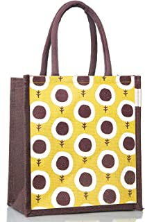 H&B Printed Jute Tote Bags with Zip for Lunch for Men ( Medium Size - Sunflower , Yellow )