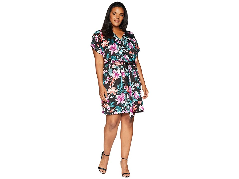 B Collection by Bobeau Plus Size Aniyah Twist Front Woven Dress (Tropical Print) Women