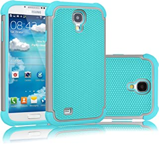 Tekcoo for Galaxy S4 Case, [Tmajor Series] [Grey/Turquoise] Shock Absorbing Hybrid Rubber Plastic Impact Defender Rugged Slim Hard Case Cover Shell for Samsung Galaxy S4 S IV I9500 GS4 All Carriers