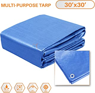 Sunshades Depot 30x30 Feet General Multi-Purpose 5 Mil Waterproof Blue Multi Purpose Waterproof Poly Tarp Cover 5 Mil Thick 8x8 Weave