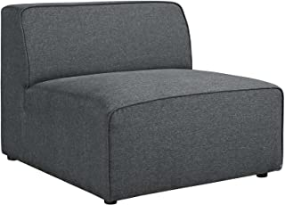 Modway Mingle Polyester Upholstered Generously Padded Armless Chair, Gray Fabric