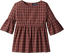 Tartan Bell-Sleeve Top (Big Kids)