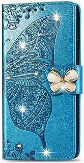 Reevermap Samsung Galaxy A12 Hülle Glitzer Kristall Flip PU Leder Handyhülle für Samsung Galaxy A12 Stoßfest Brieftasche Schmetterling Prägung Edelsteine Glänzend Magnetverschluss Kickstand Blau