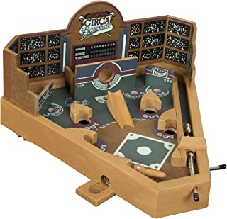 Hey! Play! Baseball Pinball Tabletop Skill Game - Classic Miniature Wooden Retro Sports Arcade Desktop Toy for Adult Collectors and Children
