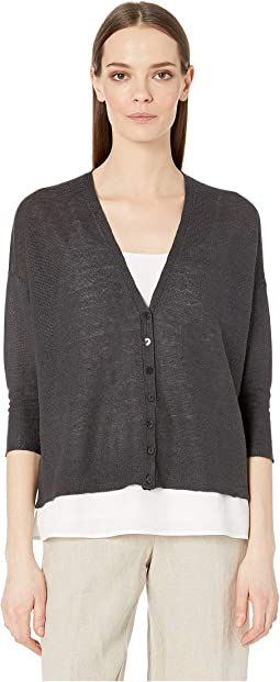Organic Linen Knit V-Neck 3/4 Sleeve Short Cardigan