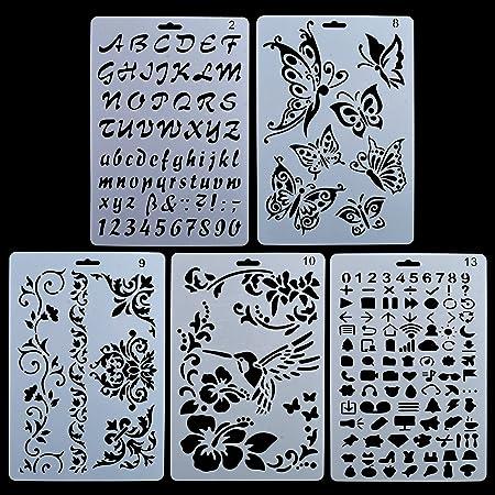 KMALL Set 5pcs di Stencil per La pittura/Scrapbooking/Pareti, Disegni D'arte Fai Da Te Regalo per Bambini bambino