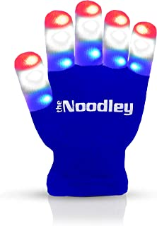 The Noodley Flashing LED Finger Light Gloves with Extra Batteries - Kid Sized - Blue, Small