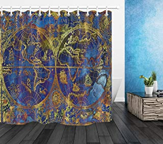 Rrfwq Blue World Atlas Map on Textured Background Shower Curtain Set Waterproof Fabric 72X72IN