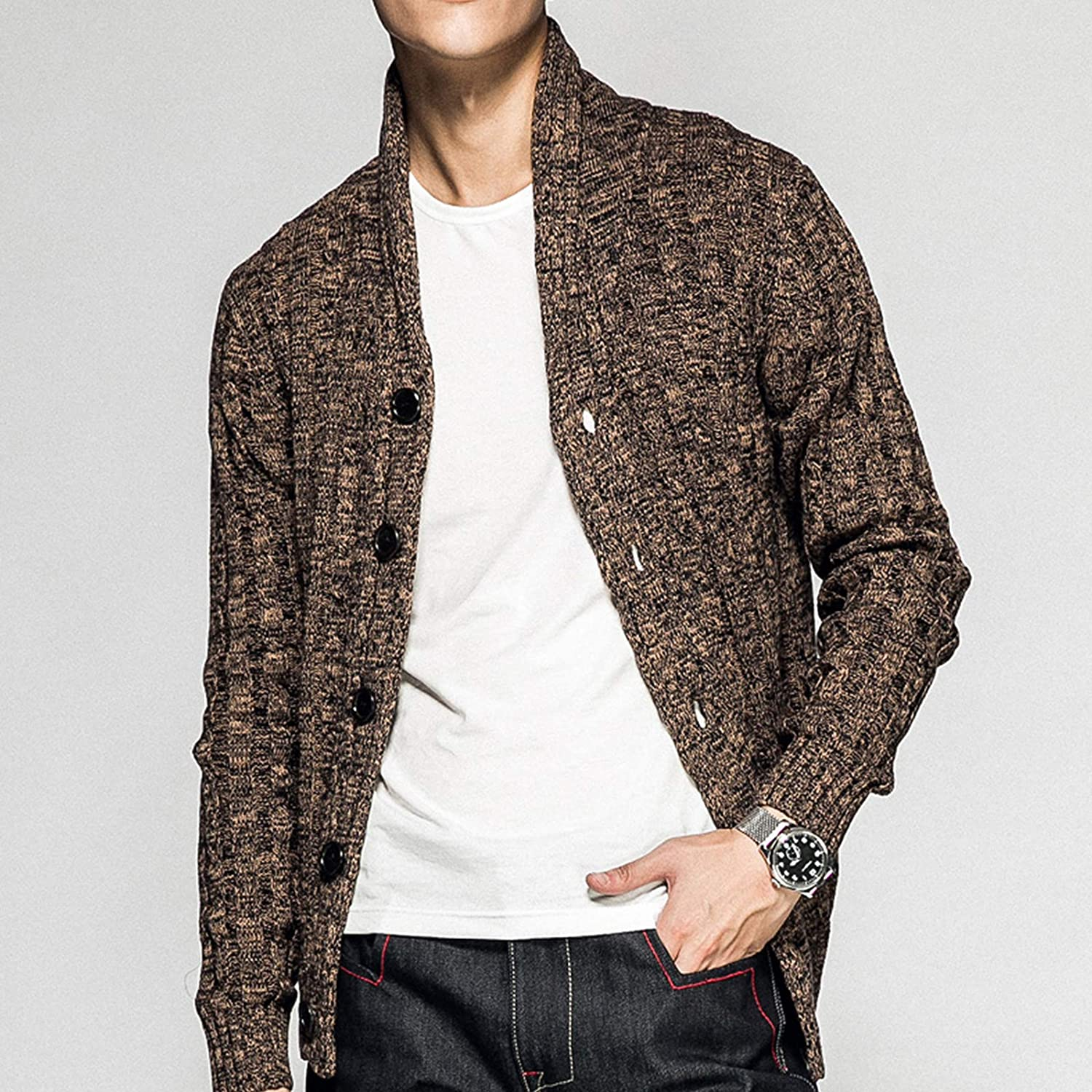 n&d Men's Long-Sleeved Button Knit Cardigan Sweater Loose fit Trend Thickening