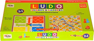 GSI Ludo Snakes And Ladders Kids Board Game With Laminated PVC Board for Fun - Family Friends Entertainment Game