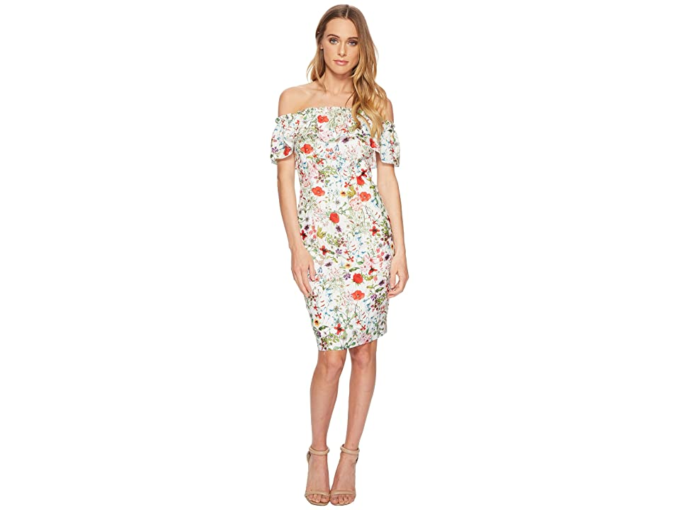 Adrianna Papell Bloom Printed Off Shoulder (Ivory Multi) Women