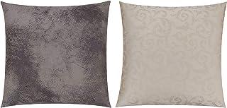 GIACALLON - Set di 2 Federe per cuscini, double face effetto pitonato fatta a mano in Jacquard di cotone ed Ecopelle 50 x ...