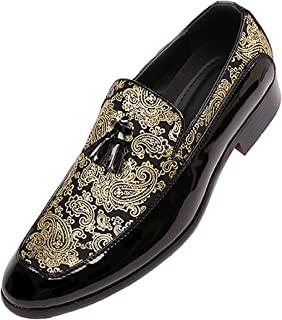 47c83ba0a9e7 Bolano Mens Paisley and Patent Tuxedo Slipper Dress Shoe with Tassel,  Comfortable Slip On Design
