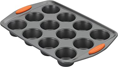 Rachael Ray 54075 Oven Lovin' Non-Stick 12-Cup Muffin and Cupcake Pan, Gray With Orange Grips