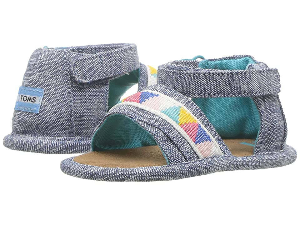 TOMS Kids Shiloh (Infant/Toddler) (Blue Slub Chambray/Tribal) Girl