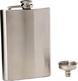 Oggi 7248 8 Ounce Stainless Steel Hip Flask with Filling Funnel, 8 oz