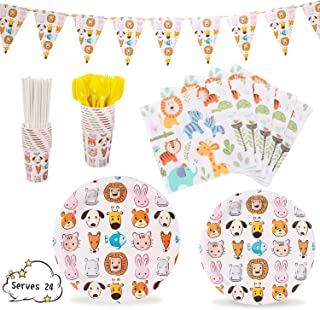 """Animal Party Supplies Decorations Animal-Themed Jungle theme Zoo Pets Dinnerware 169 Pcs Serves 24 Includes 7""""&9"""" Paper Plates Napkins Straws Knives Forks Cups Banner For Birthday, Animals Themed Parties, Serves 24"""