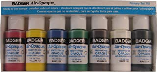 Badger Air-Brush Company Air-Opaque Airbrush Ready Water Based Acrylic Paint, Primary, 1-Ounce Each, Set of 7