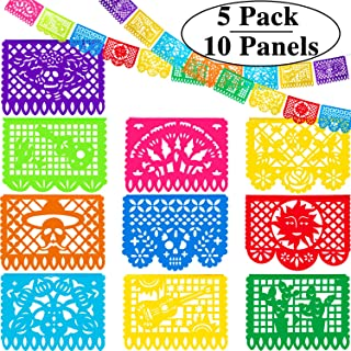 5 Packs Mexican Party Banners Fiesta Plastic Banners Mexican Fiesta Decorations for Party Supplies