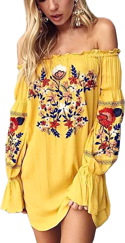 R.Vivimos Women Floral Embroidered Off Shoulder Long Sleeve Short Dresses