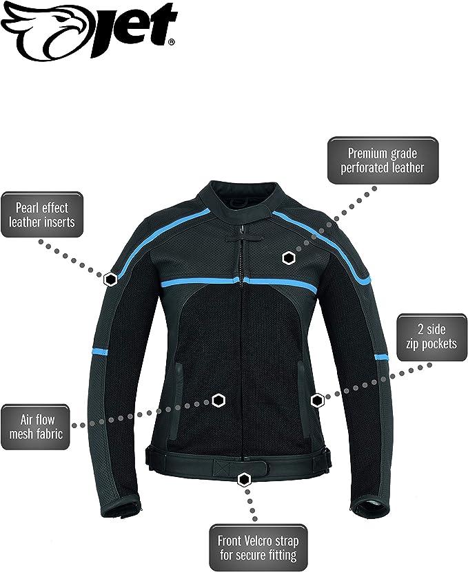 M JET Giacca Moto Pelle Donna Tessile Ventilazione Pelle Premium con Protezioni CARMEN IT 42 , Nero//Rosa
