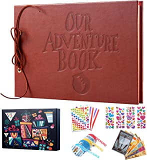 TEOYALL Our Adventure Book Scrapbook Photo Album Scrapbooking Supplies DIY Family Anniversary Gift for Birthday Wedding Thanksgiving Day Christmas Baby Shower (Leather Cover)