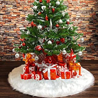 DegGod Plush Christmas Tree Skirts, 48 inches Luxury Snowy White Faux Fur Xmas Tree Base Cover Mat for Xmas New Year Home Party Decorations(Pure White, 48 inches)