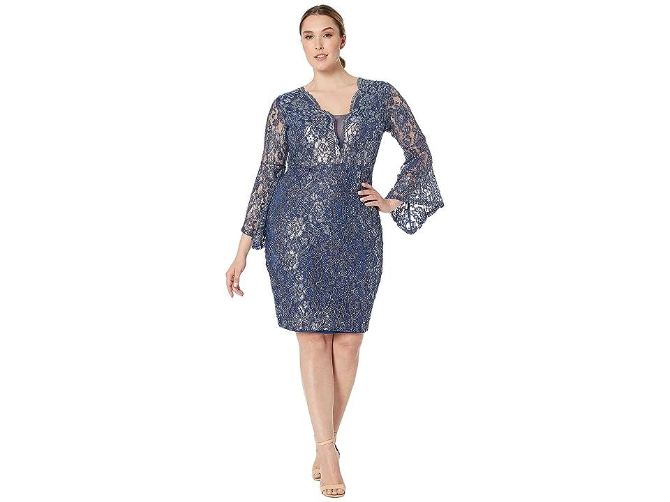 MARINA Short Dress w/ Bell Sleeves (Navy/Silver) Women