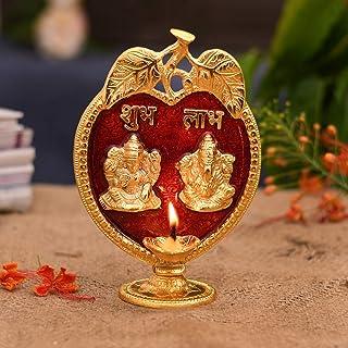 CraftVatika Laxmi Ganesh Idol Diya Oil Lamp Statue - Metal Gold Finish Diya Oil Lamp Hindu Lakshmi Ganesha Showpiece Shubh...