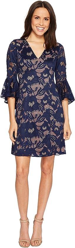 Adrianna Papell Carol Lace Ruffle Sleeve Dress
