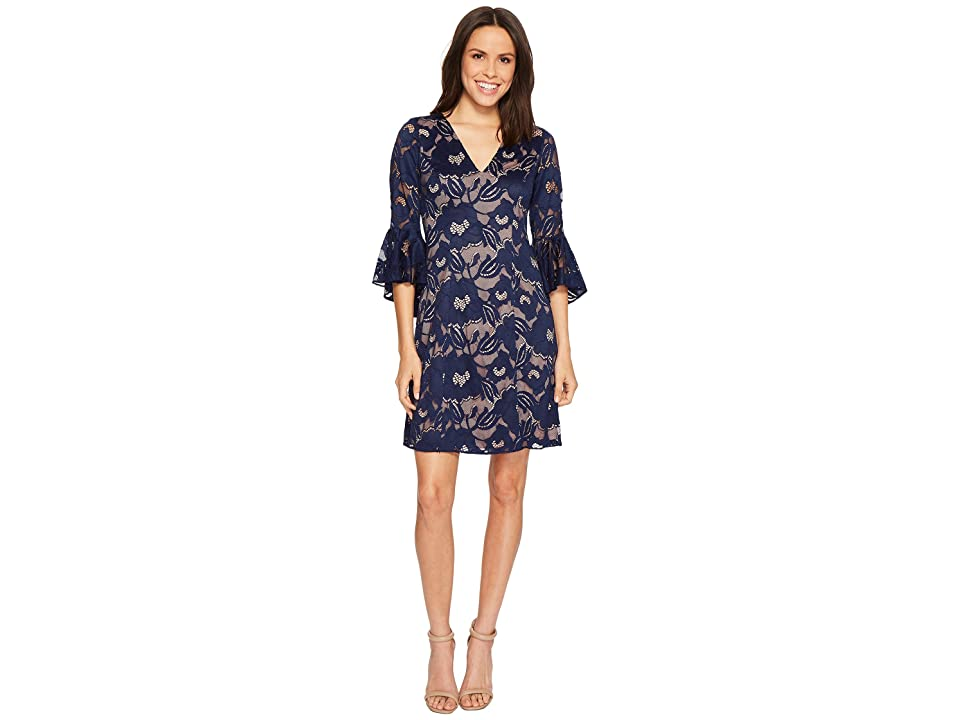 Adrianna Papell Carol Lace Ruffle Sleeve Dress (Navy Sateen) Women