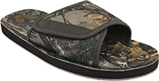Realtree Mens Sandals, Camo Print Hunting Camouflage Flip Flop Sandals, Woodsman Xtra Camo Print Northern Trail, Brown Green, Size 7 to 13