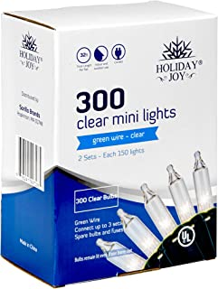 Holiday Joy - 300 Count Clear White Green Wire Christmas Tree String Lights - Indoor/Outdoor (300 Clear White - Green Wire)