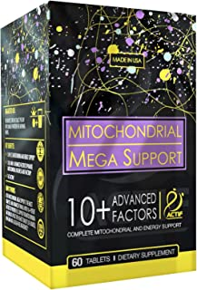 Actif Mitochondria Mega Support with 10+ Advanced Factors - Non GMO, Fast Acting, Made in USA, 60 Count