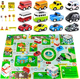 Hot Toddlers Toys with Playmat 12 Pack Die-Cast Pull Back Cars Toys Wheels Vehicles Cars for Toddlers 1-3