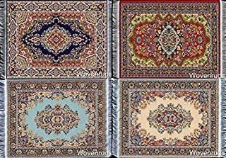 Set of 4 Dolls House Rugs for Dollhouse Furniture - Miniature Woven Dollhouse Carpet - 6