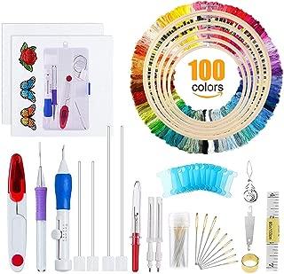 Punto de Cruz Kits Completo, Bordado Aguja Magica Punch Needle , Punzón Manualidades, 5 Pack Bastidor Aros para Bordar de Bambú, 100 Hilos de Color, 14 Hilos de Algodón Blanco Aidas.