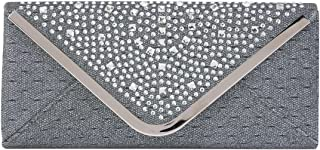 Damara Womens Triangle Rhinestone Flap Envelope Wedding Bag,Grey