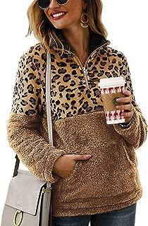 Women's Long Sleeve Leopard Block Zipper Sherpa Sweatshirt Soft Fleece Pullover Sweater Coat with Pockets