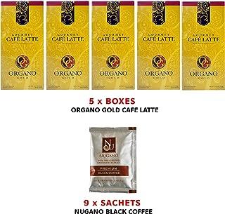 5x Organo Gold Cafe Latte Coffee + 9 Sachets Nugano Artisan Instant Black Coffee with Zero Calories