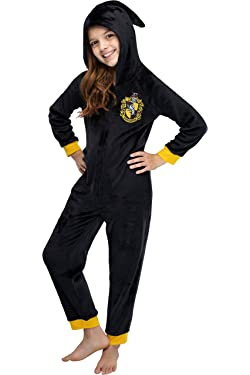 INTIMO Harry Potter Unisex Kids Hooded Pajama Union Suit - All 4 Houses Gryffindor, Slytherin, Ravenclaw, Hufflepuff